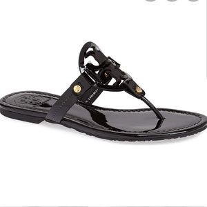 "Tory Burch Size 10 Black Patent ""Miller"" Sandals"